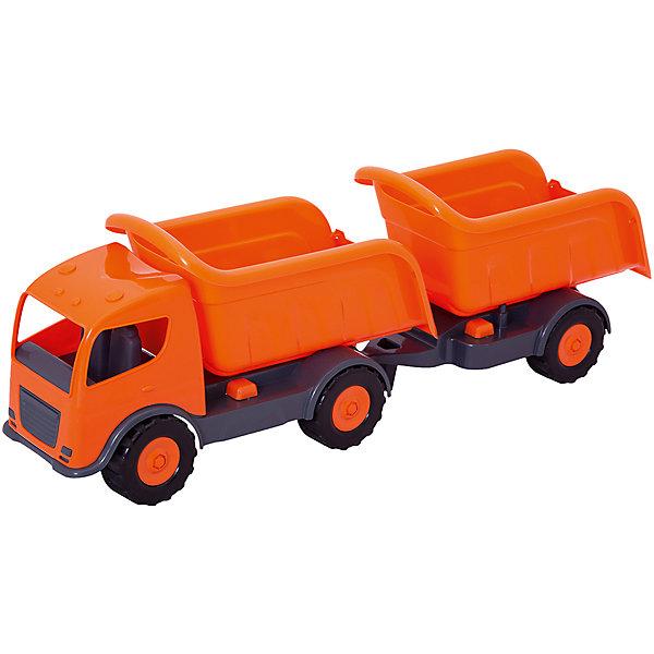 Самосвал Mochtoys с прицепом ,оранжевыйМашинки<br>Характеристики:<br><br>• цвет: оранжевый;<br>• возраст: от 3 лет;<br>• материал: пластик;<br>• вес: 3 кг;<br>• размер: 106х23х33 см;<br>• страна бренда: Польша;<br>• бренд: Mochtoys.<br><br>Такая спецтехника, как самосвал с прицепом – мечта каждого маленького любителя автомобилей. самосвал от Mochtoys станет достойным экземпляром в коллекции машинок. С этой игрушкой ребенок сможет придумать множество различных игр и сюжетов для веселого времяпрепровождения и развития. Набор отлично дополнит игры ребенка как дома, так и на улице.<br><br>Игрушка изготовлена из высококачественного, экологически безопасного пластика, соответствующего всем стандартам, санитарным требованиям и нормам, предъявляемым к продукции детского назначения.<br><br>Самосвал Mochtoys с прицепом можно купить в нашем интернет-магазине.