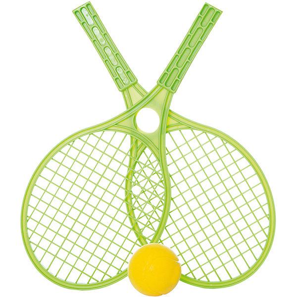 Набор для тенниса Mochtoys,зеленыйБадминтон и теннис<br>Характеристики:<br><br>• цвет: зеленый;<br>• возраст: от 3 лет;<br>• материал: пластик;<br>• вес: 210 гр;<br>• размер: 42,5х19х6,5 см;<br>• страна бренда: Польша;<br>• бренд: Mochtoys.<br><br>Отдых на природе отныне станет активнее и увлекательнее, ведь с таким набором от бренда Mochtoys достаточно лишь найти подходящее место и насладиться игрой. Игра в теннис способствует развитию таких физических навыков, как ловкость и скорость реакции.<br><br>В комплект набора входит мячик и две ракетки. У ракеток очень удобные прочные ручки, поэтому даже у начинающих теннисистов не возникнет проблем с освоением этой игры.<br><br>Игрушка изготовлена из высококачественного, экологически безопасного пластика, соответствующего всем стандартам, санитарным требованиям и нормам, предъявляемым к продукции детского назначения.<br><br>Набор для тенниса Mochtoys можно купить в нашем интернет-магазине.<br>Ширина мм: 425; Глубина мм: 190; Высота мм: 65; Вес г: 210; Цвет: зеленый; Возраст от месяцев: 36; Возраст до месяцев: 2147483647; Пол: Унисекс; Возраст: Детский; SKU: 8335166;