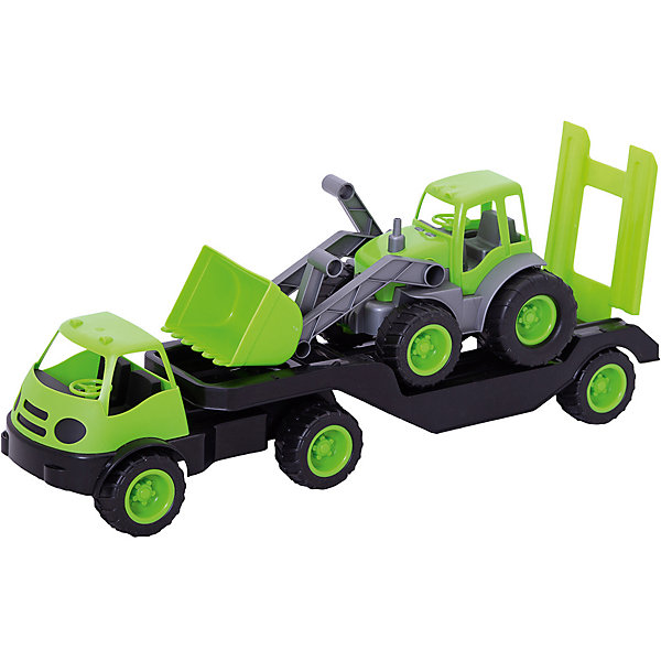 Погрузчик Mochtoys с прицепом и трактором,зеленыйМашинки<br>Характеристики:<br><br>• цвет: зеленый;<br>• возраст: от 3 лет;<br>• материал: пластик;<br>• вес: 1,45 кг;<br>• размер: 61,5х17,5х25 см;<br>• страна бренда: Польша;<br>• бренд: Mochtoys.<br><br>Такая спецтехника, как погрузчик с прицепом – мечта каждого маленького любителя автомобилей. Погрузчик с прицепом и трактором от Mochtoys станет достойным экземпляром в коллекции машинок. С этой игрушкой ребенок сможет придумать множество различных игр и сюжетов для веселого времяпрепровождения и развития. Погрузчик отлично дополнит игры ребенка как дома, так и на улице.<br><br>Игрушка изготовлена из высококачественного, экологически безопасного пластика, соответствующего всем стандартам, санитарным требованиям и нормам, предъявляемым к продукции детского назначения.<br><br>Погрузчик Mochtoys с прицепом и трактором можно купить в нашем интернет-магазине.<br>Ширина мм: 620; Глубина мм: 175; Высота мм: 250; Вес г: 1450; Цвет: зеленый; Возраст от месяцев: 36; Возраст до месяцев: 2147483647; Пол: Мужской; Возраст: Детский; SKU: 8335196;