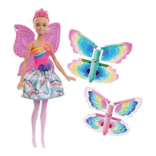 Кукла Barbie Dreamtopia Фея с летающими крыльями, 29 смБренды кукол<br>Характеристики:<br><br>• возраст: от 5 лет;<br>• материал: пластик, текстиль, ПВХ, нейлон;<br>• высота куклы: 29 см;<br>• в наборе: кукла в одежде с крыльями, тиара, 2 пары съемных летающих крыльев;<br>• вес упаковки: 454 гр.;<br>• размер упаковки: 32х6х23 см;<br>• страна бренда: США.<br><br>Кукла Barbie Dreamtopia «Фея с летающими крыльями» от Mattel выглядит как волшебница. За ее спиной есть прозрачные крылья, на голове с собранными волосами красуется тиара. Кукла одета в красочную юбочку и несъемный корсет.<br><br>В наборе есть две пары цветных крыльев-бабочек, которые можно запустить в полет с помощью устройства на спине куклы. Нужно разместить бабочек на крылья феи, потянуть четыре раза за бантик на юбке, а затем нажать на кнопку на бретели корсета. Бабочки воспарят вверх, взмахивая своими крылышками.<br><br>У куклы подвижные ручки, ножки и голова. Набор изготовлен из качественных безопасных материалов.<br><br>Куклу Barbie Dreamtopia «Фея с летающими крыльями», 29 см можно купить в нашем интернет-магазине.<br>Ширина мм: 60; Глубина мм: 230; Высота мм: 325; Вес г: 510; Возраст от месяцев: 36; Возраст до месяцев: 2147483647; Пол: Женский; Возраст: Детский; SKU: 8335238;