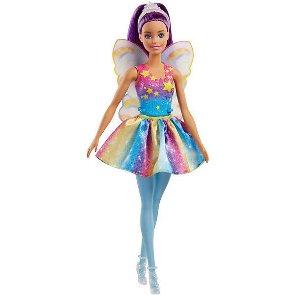 Кукла Barbie Dreamtopia Волшебные Феи с фиолетовыми волосами, 29 смКуклы модели<br>Характеристики:<br><br>• возраст: от 3 лет;<br>• материал: пластик, текстиль;<br>• высота куклы: 29 см;<br>• в наборе: кукла, одежда, аксессуары;<br>• размер упаковки: 32,4х11,4х5,4 см;<br>• страна бренда: США.<br><br>Кукла Barbie Dreamtopia из серии «Волшебные Феи» от Mattel обладает яркой сказочной внешностью, ее фиолетовые волосы собраны в прическу, на голове красуется тиара. У куколки, как у истинной феи, есть крылья за спиной. На Барби надета съемная юбка и туфельки. Корсет снять нельзя.<br><br>У игрушки подвижные части тела. Лицо тщательно прорисовано, краски устойчивы к механическому воздействию. Набор выполнен из качественных безопасных материалов.<br><br>Куклу Barbie Dreamtopia «Волшебные Феи» с фиолетовыми волосами, 29 см можно купить в нашем интернет-магазине.<br>Ширина мм: 55; Глубина мм: 115; Высота мм: 325; Вес г: 210; Возраст от месяцев: 36; Возраст до месяцев: 2147483647; Пол: Женский; Возраст: Детский; SKU: 8335270;