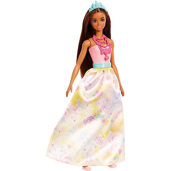 Кукла Barbie Dreamtopia Волшебные принцессы Королевство сладостей, 29 смКуклы модели<br>Характеристики:<br><br>• возраст: от 3 лет;<br>• материал: пластик, текстиль;<br>• высота куклы: 29 см;<br>• в наборе: кукла, аксессуары;<br>• вес упаковки: 160 гр.;<br>• размер упаковки: 32х12х6 см;<br>• страна бренда: США.<br><br>Кукла Barbie Dreamtopia «Волшебные принцессы» – принцесса Королевства сладостей, что подтверждает принт на ее красочной съемной юбке. Корсет снять нельзя. Барби обладает яркой сказочной внешностью, ее длинные густые волосы можно причесывать и собирать в прически. На голове красуется тиара.<br><br>У игрушки подвижные части тела. Лицо тщательно прорисовано, краски устойчивы к механическому воздействию. Набор выполнен из качественных безопасных материалов.<br><br>Куклу Barbie Dreamtopia «Волшебные принцессы» Королевство сладостей, 29 см можно купить в нашем интернет-магазине.<br>Ширина мм: 55; Глубина мм: 115; Высота мм: 325; Вес г: 240; Возраст от месяцев: 36; Возраст до месяцев: 2147483647; Пол: Женский; Возраст: Детский; SKU: 8335298;