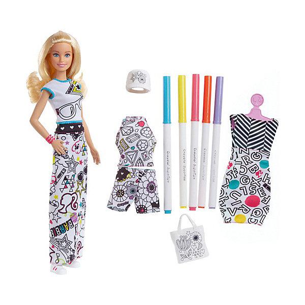 Игровой набор Barbie + Crayola Одежда-раскраска, 29 смBarbie<br>Характеристики:<br><br>• возраст: от 4 лет;<br>• материал: пластик, текстиль;<br>• высота куклы: 29 см;<br>• в наборе: кукла, 5 фломастеров, платье-футляр, топ без рукавов, короткие шорты, футболка, длинная юбка, кепка, сумка, кеды;<br>• размер упаковки: 33х6х23 см;<br>• страна бренда: США.<br><br>Игровой набор Barbie Crayola «Одежда-раскраска» от Mattel развивает творческие способности ребенка, ведь девочке предстоит раскрасить весь гардероб Барби на свой вкус. Каждый элемент одежды выполнен в белом цвете с нанесенными контурами рисунков. Пять цветных фломастеров легко красят поверхность ткани. Изделия можно помыть, чтобы раскрасить по-новому.<br><br>У куклы подвижные ручки, ножки и голова. Барби обладает миловидным лицом и густыми блестящими волосами, которые можно причесывать и собирать в прически. Таким образом, кукла всегда будет в новом образе. Сделано из качественных безопасных материалов.<br><br>Игровой набор Barbie + Crayola «Одежда-раскраска», 29 см можно купить в нашем интернет-магазине.<br>Ширина мм: 60; Глубина мм: 230; Высота мм: 325; Вес г: 380; Возраст от месяцев: 60; Возраст до месяцев: 2147483647; Пол: Женский; Возраст: Детский; SKU: 8335304;