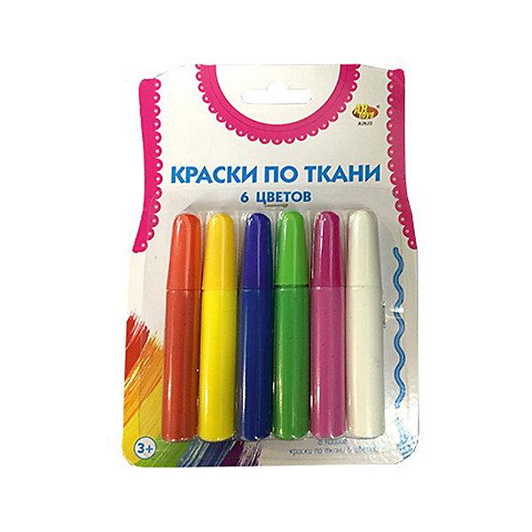 Краски по ткани Abtoys 6 цветовКраски и кисточки<br>Характеристики товара:<br><br>• возраст: от 3 лет;<br>• в комплекте: 6 тюбиков краски, кисточка;<br>• размер упаковки: 17х12х1,5 см;<br>• вес упаковки: 80 гр.;<br>• страна бренда: Китай.<br><br>Набор красок по ткани с кисточкой от компании ABtoys предназначен для занятий творчеством. В нем имеются тюбики с красной, желтой, синей, зеленой, сиреневой и белой красками. <br><br>Можно купить обыкновенную белую футболку и нарисовать на ней уникальный принт. Занятие развивает творческое воображение и поднимает настроение.<br><br>Краски по ткани Abtoys можно купить в нашем интернет-магазине.
