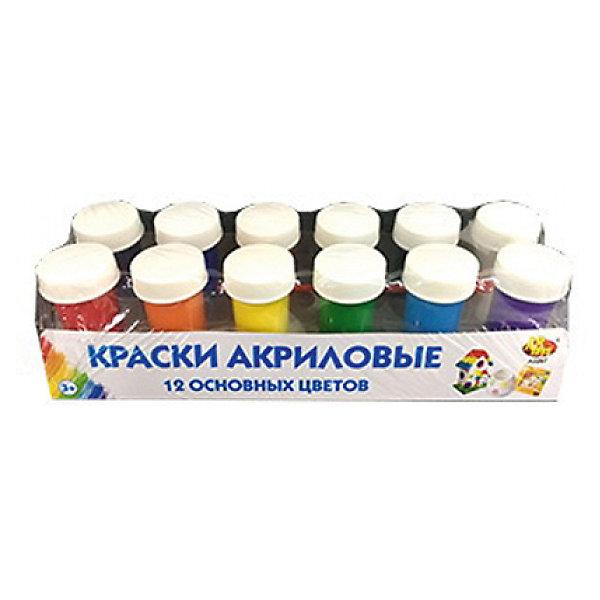 ABtoys Краски акриловые для рисования Abtoys 12 цветов с кисточкой