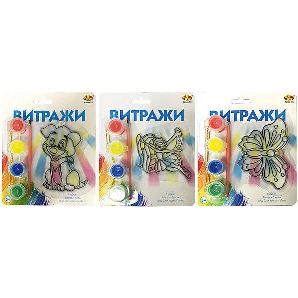 Витражи Abtoys 3 видаНаборы для декора<br>Характеристики товара:<br><br>• возраст: от 5 лет;<br>• в комплекте: витраж, кисть, шнур, 4 баночки с краской;<br>• размер упаковки: 18х2х14 см;<br>• вес упаковки: 120 гр.;<br>• страна бренда: Китай.<br><br>Набор для детского творчества Витражи от торговой марки ABtoys надолго завладеет вниманием многих детей. Ребенку предлагается побыть в роли художника, который сможет самостоятельно создать витражный рисунок. <br><br>В наборе имеются сам витраж, несколько баночек с разными цветами красок и кисть. Раскрасить витраж ребенок может по своему желанию.<br><br>Витражи Abtoys можно купить в нашем интернет-магазине.