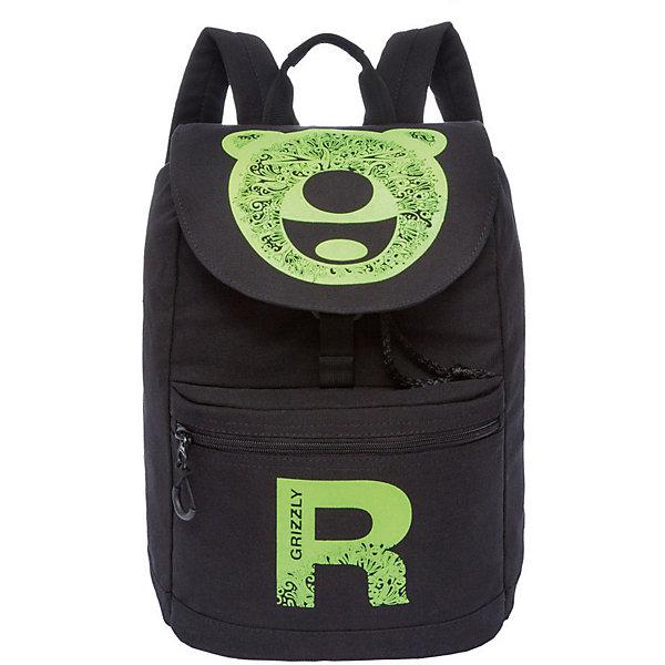 Рюкзак Grizzly, чёрный/салатовыйРюкзаки<br>Характеристики:<br><br>• возраст от: 10 лет;<br>• цвет: черный/салатовый;<br>• материал: брезета;<br>• размер рюкзака: 28х40х19 см.;<br>• объем рюкзака: маленький (до 20 л.);<br>• вес рюкзака: 610 гр.;<br>• тип рюкзака: повседневный, городской;<br>• спинка: укрепленная;<br>• тип застёжки: шнурок-утяжка, клапан на пряжке-крючке;<br>• количество отделений: 1 отделение;<br>• количество карманов: 2 внешний/ 1 внутренний;<br>• дополнительная ручка-петля;<br>• износостойкая обивка;<br>• регулируемые укрепленные лямки;<br>• стильный дизайн;<br>• бренд, страна бренда: Grizzly, Россия.<br><br>Рюкзак Grizzly с оригинальным принтом - это красивый и удобный рюкзак подойдет всем, кто хочет разнообразить свои будни.  Такой яркий функциональный рюкзак с веселым принтом не оставит никого равнодушным.<br><br>Молодежный рюкзак с укрепленной спинкой изготовлен из плотного брезента и прослужит вам не один сезон. Имеет одно вместительное отделение, затягивающееся шнурком и клапаном на пряжке-крючке, карман на молнии на передней стенке, карман для гаджета,внутренний карман на молнии. Рюкзак оснащен двумя широкими мягкими лямками регулируемой длины и удобной короткой ручкой.<br><br>Рюкзак Grizzly, черный/салатовый, можно купить в нашем интернет-магазине.<br>Ширина мм: 280; Глубина мм: 40; Высота мм: 400; Вес г: 611; Цвет: черный/желтый; Возраст от месяцев: 120; Возраст до месяцев: 2147483647; Пол: Женский; Возраст: Детский; SKU: 8339054;