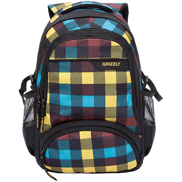 Рюкзак Grizzly, клетка радугаРюкзаки<br>Характеристики:<br><br>• возраст от: 10 лет;<br>• цвет: черный/мультиколор;<br>• материал: полиэстер, нейлон;<br>• размер рюкзака: 32х53х21 см.;<br>• объем рюкзака: средний (20 -30 л.);<br>• вес рюкзака: 1 кг.;<br>• тип рюкзака: повседневный, городской;<br>• ососбенности: карман для ноутбука;<br>• спинка: жесткая ортопедическая вставка;<br>• тип застёжки: молния;<br>• количество отделений: 2 отделения;<br>• количество карманов: 4 внешних/ 2 внутренних;<br>• дополнительная ручка-петля;<br>• износостойкая обивка;<br>• регулируемые укрепленные лямки;<br>• стильный дизайн;<br>• бренд, страна бренда: Grizzly, Россия.<br><br>Молодежный рюкзак Grizzly выполнен из сочетания высококачественного полиэстера с нейлоном и оформлен оригинальным принтом с разноцветной клеткой. Рюкзак имеет петлю для подвешивания и две удобные лямки, длина которых регулируется с помощью пряжек. Модель имеет два основных отделения на молнии, которые содержат внутренний карман на молнии и внутренний укрепленный карман для ноутбука. На передней стенке расположены два объемных кармана на застежке-молнии, а по бокам имеются объемные кармашки из сетки. Тыльная сторона дополнена анатомической спинкой.<br><br>Яркий рюкзак станет удобным и функциональным аксессуаром во время путешествий и повседневной носки на каждый день.<br><br>Рюкзак Grizzly, черный/мультиколор, можно купить в нашем интернет-магазине.<br>Ширина мм: 310; Глубина мм: 40; Высота мм: 480; Вес г: 605; Цвет: разноцветный; Возраст от месяцев: 120; Возраст до месяцев: 2147483647; Пол: Мужской; Возраст: Детский; SKU: 8339060;