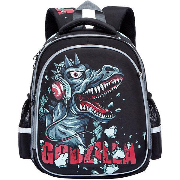 Рюкзак школьный Grizzly, чёрныйРюкзаки<br>Характеристики:<br><br>• возраст от: 6 лет;<br>• цвет: черный;<br>• материал: нейлон;<br>• размер рюкзака: 28х36х20 см.;<br>• объем рюкзака: средний ( 20 л.);<br>• вес рюкзака:940 гр.;<br>• тип рюкзака: школьный;<br>• ососбенности: отделение-органайзер, светоотражающие вставки;<br>• спинка: ортопедическая, воздухопроницаемая;<br>• тип застёжки: молния;<br>• количество отделений: 2 отделения;<br>• количество карманов: 2 внешних/6 внутренних;<br>• дополнительная ручка-петля;<br>• износостойкая обивка;<br>• регулируемые анатомические лямки;<br>• стильный дизайн;<br>• бренд, страна бренда: Grizzly, Россия.<br><br>Школьный ранец Grizzly для мальчика - это красивый и удобный ранец, который подойдет всем, кто хочет разнообразить свои школьные будни. Многофункциональный ранец станет незаменимым спутником вашего ребенка в походах за знаниями.  <br><br>Ранец выполнен из плотного нейлона с покрытием из водонепроницаемого материала и оформлен оригинальным изображением в виде динозавра. Ранец имеет два основных вместительных отделения на застежках-молниях. В первом отделении расположены две мягкие перегородки для тетрадей и учебников. Во втором отделении имеются один сетчатый карман - открытый и на молнии, карман под клапаном с липучкой под мобильный телефон, четыре кармашка под канцелярские принадлежности и лента с карабином для ключей. На лицевой стороне ранец оснащен металлической петлей для подвешивания брелоков. Ранец имеет удобную ручку для переноски. Широкие регулируемые лямки и сетчатые мягкие вставки на спинке ранца предохранят мышцы спины ребенка от перенапряжения при длительном ношении. Высота посадки лямок может регулироваться благодаря специальным приспособлениям на спинке ранца. Ранец имеет легкую и устойчивую конструкцию.<br><br>Школьный ранец Grizzly для мальчика, черный, можно купить в нашем интернет-магазине.<br>Ширина мм: 280; Глубина мм: 200; Высота мм: 360; Вес г: 942; Цвет: черный; Возраст от месяцев: 120; Возраст д