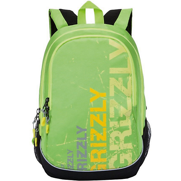 Grizzly Рюкзак Grizzly, чёрный/салатовый рюкзак городской grizzly цвет салатовый коричневый 23 л ru 619 2 2