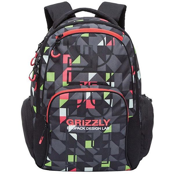 Рюкзак Grizzly, красные треугольникиРюкзаки<br>Характеристики:<br><br>• возраст от: 10 лет;<br>• цвет: черный/красный/серый;<br>• материал: полиэстер, нейлон;<br>• размер рюкзака: 32х45х21 см.;<br>• объем рюкзака: средний (20 -30 л.);<br>• вес рюкзака: 750 гр.;<br>• тип рюкзака: повседневный, городской;<br>• ососбенности: карман для ноутбука;<br>• спинка: жесткая ортопедическая вставка;<br>• тип застёжки: молния;<br>• количество отделений: 2 отделения;<br>• количество карманов: 6 внешних/ 2 внутренних;<br>• дополнительная ручка-петля;<br>• износостойкая обивка;<br>• регулируемые укрепленные лямки;<br>• стильный дизайн;<br>• бренд, страна бренда: Grizzly, Россия.<br><br>Молодежный рюкзак Grizzly - это красивый и удобный рюкзак, который подойдет всем, кто хочет разнообразить свои будни. Рюкзак выполнен из плотного материала с оригинальным графическим принтом.  С таким функциональным аксессуаром легко преодолевать длительные путешествия, имея все необходимое под рукой.<br><br>Рюкзак содержит два вместительных отделения, каждое из которых закрывается на молнию. Внутри первого отделения имеется открытый накладной карман, на стенке которого расположился врезной карман на молнии. Второе отделение не содержит дополнительных карманов. Снаружи, по бокам изделия, расположены два кармана на застежках-молниях. Лицевая сторона дополнена двумя карманами на застежках-молниях. В нижнем кармане расположены четыре открытых накладных кармашка. Рюкзак оснащен мягкой укрепленной ручкой для переноски, петлей для подвешивания и двумя практичными лямками регулируемой длины. Практичный рюкзак станет незаменимым аксессуаром и вместит в себя все необходимое.<br><br>Рюкзак Grizzly, черный/красный/серый, можно купить в нашем интернет-магазине.<br>Ширина мм: 320; Глубина мм: 40; Высота мм: 450; Вес г: 745; Цвет: rosa/rot; Возраст от месяцев: 120; Возраст до месяцев: 2147483647; Пол: Мужской; Возраст: Детский; SKU: 8339094;