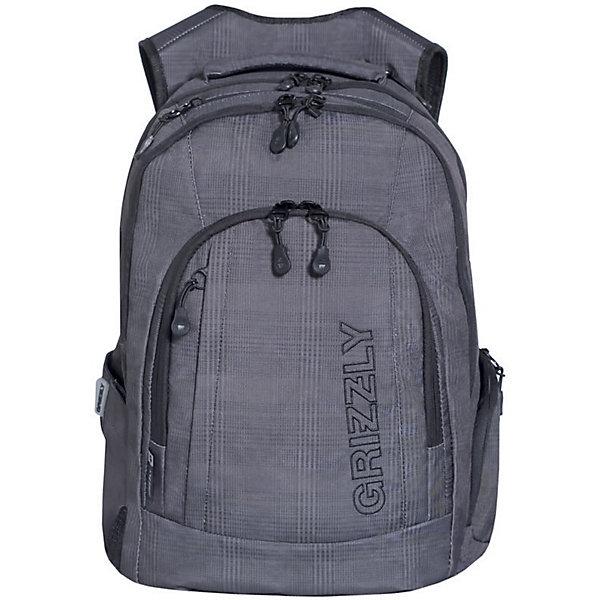 Рюкзак Grizzly, серая клеткаРюкзаки<br>Характеристики:<br><br>• возраст от: 10 лет;<br>• цвет: серый в клетку;<br>• материал: полиэстер;<br>• размер рюкзака: 36х48х19 см.;<br>• объем рюкзака: средний (20 - 30 л.);<br>• вес рюкзака: 850 гр.;<br>• тип рюкзака: повседневный, городской;<br>• спинка: анатомическая;<br>• тип застёжки: молния;<br>• количество отделений: 2 основных отделения.;<br>• количество карманов: 6 внешних/ 2 внутренних;<br>• дополнительная ручка-петля;<br>• износостойкая обивка выдержит любую погоду и прослужит не один год;<br>• регулируемые укрепленные лямки;<br>• стильный дизайн;<br>• бренд, страна бренда: Grizzly, Россия.<br><br>Городской рюкзак Grizzly выполнен из высококачественного плотного полиэстера. На лицевой стороне расположен карман на молнии, который содержит вшитый карман на молнии, два открытых накладных кармана для мелочей и четыре кармана для канцелярских принадлежностей. Также на лицевой стороне находится вместительный карман на молнии и вертикальный карман на молнии для мелочей. На тыльной стороне расположен вшитый вертикальный карман на молнии. Рюкзак оснащен двумя боковыми карманами для переноски бутылок с водой. Рюкзак имеет петлю для подвешивания и две удобные лямки, длина которых регулируется с помощью пряжек. Изделие закрывается на застежку-молнию. Внутри расположено главное вместительное отделение, которое содержит открытый мягкий карман для планшета.<br><br>Рюкзак выполнен в практичном сером цвете и и оформлен принтом в клетку. Он станет верным, удобным и функциональным аксессуаром во время путешествий и повседневной носки на каждый день.<br><br>Рюкзак Grizzly, серый в клетку, можно купить в нашем интернет-магазине.<br>Ширина мм: 360; Глубина мм: 40; Высота мм: 480; Вес г: 855; Цвет: серый; Возраст от месяцев: 120; Возраст до месяцев: 2147483647; Пол: Мужской; Возраст: Детский; SKU: 8339100;