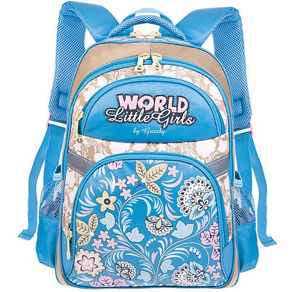 Рюкзак школьный Grizzly, бежевый/голубойРюкзаки<br>Характеристики:<br><br>• возраст от: 6 лет;<br>• цвет: бежевый/голубой;<br>• материал: нейлон;<br>• размер рюкзака: 28х41х20 см.;<br>• объем рюкзака: маленький (до 20 л.);<br>• вес рюкзака:880 гр.;<br>• тип рюкзака: повседневный, школьный;<br>• ососбенности: пенал-органайзер, светоотражающие вставки;<br>• спинка: анатомическая, воздухопроницаемая;<br>• дно: жетское, откидное;<br>• тип застёжки: молния;<br>• количество отделений: 2 отделения;<br>• количество карманов: 4 внешних/2 внутренних;<br>• дополнительная ручка-петля;<br>• износостойкая обивка;<br>• регулируемые укрепленные лямки;<br>• стильный дизайн;<br>• бренд, страна бренда: Grizzly, Россия.<br><br>Школьный рюкзак Grizzly для девочки - это красивый и удобный рюкзак, который подойдет всем, кто хочет разнообразить свои школьные будни. Многофункциональный школьный рюкзак станет незаменимым спутником вашего ребенка в походах за знаниями. <br><br>Рюкзак имеет два вместительных отделения на застежках-молниях с двумя бегунками. На лицевой стороне расположены два кармана на молниях, один из которых содержит органайзер. По бокам расположены два сетчатых кармана. Дно рюкзака можно сделать жестким, разложив специальную панель, что повышает сохранность содержимого рюкзака и способствует правильному распределению нагрузки. Рюкзак оснащен удобной текстильной ручкой для переноски в руке и светоотражающими элементами. Широкие регулируемые лямки рюкзака и воздухопроницаемая спинка предохраняют мышцы спины ребенка от перенапряжения при длительном ношении.<br><br>Школьный рюкзак Grizzly для девочки, бежевый/голубой, можно купить в нашем интернет-магазине.<br>Ширина мм: 290; Глубина мм: 40; Высота мм: 390; Вес г: 880; Цвет: бежевый с синевой; Возраст от месяцев: 120; Возраст до месяцев: 2147483647; Пол: Женский; Возраст: Детский; SKU: 8339106;