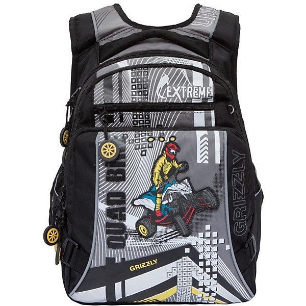 Рюкзак школьный Grizzly, чёрный/серыйРюкзаки<br>Характеристики:<br><br>• возраст от: 6 лет;<br>• цвет: черный/серый;<br>• материал: полиэстер;<br>• размер рюкзака: 27х43х26 см.;<br>• объем рюкзака: средний ( 20 л.);<br>• вес рюкзака: 970 гр.;<br>• тип рюкзака: школьный;<br>• ососбенности: отделение-органайзер, светоотражающие вставки;<br>• спинка: ортопедическая, воздухопроницаемая;<br>• тип застёжки: молния;<br>• количество отделений: 2 отделения;<br>• количество карманов: 4 внешних/3 внутренних;<br>• дополнительная ручка-петля;<br>• износостойкая обивка;<br>• регулируемые анатомические лямки;<br>• стильный дизайн;<br>• бренд, страна бренда: Grizzly, Россия.<br><br>Школьный ранец Grizzly для мальчика - это красивый и удобный ранец, который подойдет всем, кто хочет разнообразить свои школьные будни. Многофункциональный ранец станет незаменимым спутником вашего ребенка в походах за знаниями.  <br><br>Ранец выполнен из прочного материала и содержит два вместительных отделения, закрывающиеся на застежки-молнии с двумя бегунками. На лицевой стороне расположены два объемных кармана на молниях, в одном из которых находится органайзер для канцелярских принадлежностей. По бокам изделия имеются два открытых кармана. Дно рюкзака можно сделать жестким, разложив специальную панель, что повышает сохранность содержимого рюкзака и способствует правильному распределению нагрузки. <br><br>Рюкзак оснащен мягкой ручкой для удобной переноски в руке и петлей для подвешивания рюкзака на крючок. Укрепленные регулируемые лямки рюкзака предохраняют мышцы спины ребенка от перенапряжения при длительном ношении. Анатомическая спинка дополнена эргономичными воздухопроницаемыми подушечками, которые обеспечивают удобство и комфорт при носке. Светоотражающие элементы не оставят незамеченным вашего ребенка в темное время суток.<br><br>Школьный ранец Grizzly для мальчика, черный/серый, можно купить в нашем интернет-магазине.<br>Ширина мм: 270; Глубина мм: 40; Высота мм: 430; Вес г: 965; Цвет: черный