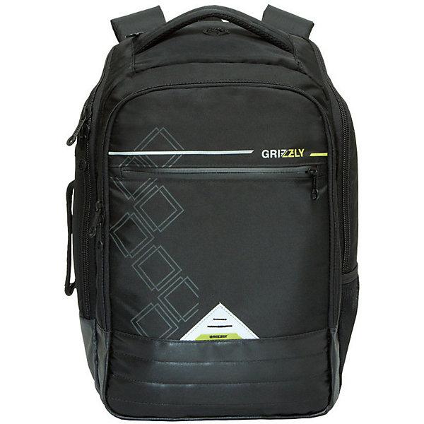 Рюкзак Grizzly, чёрныйРюкзаки<br>Характеристики:<br><br>• возраст от: 10 лет;<br>• цвет: черный;<br>• материал: полиэстер;<br>• размер рюкзака: 32х45х21 см.;<br>• объем рюкзака: средний (20- 30 л.);<br>• вес рюкзака: 800 гр.;<br>• тип рюкзака: повседневный, городской;<br>• наполнение: органайзер для принадлежностей;<br>• ососбенности: брелок для ключей, укрепленное дно;<br>• спинка: жёсткая вставка;<br>• тип застёжки: молния;<br>• количество отделений: 2 основных отделения.;<br>• количество карманов: 2 внешних/ 3 внутренних/ 2 боковых;<br>• дополнительная ручка-петля;<br>• износостойкая обивка выдержит любую погоду и прослужит не один год;<br>• регулируемые укрепленные лямки;<br>• стильный дизайн;<br>• бренд, страна бренда: Grizzly, Россия.<br><br>Рюкзак Grizzly молодежный выполнен из высококачественного полиэстера и оформлен стильным принтом.Имеет петлю для подвешивания и две удобные лямки, длина которых регулируется с помощью пряжек. Изделие имеет два основных отделения, которые дополнены стандартным карманом на молнии, внутренним составным пеналом-органайзером, укрепленным карманом для ноутбука и карманом для аудиоплеера. Боковые стенки оснащены одним карманом и удобной ручкой. Передняя стенка имеет втачной карман на застежке-молнии. Спинка дополнена укрепленной вставкой и нагрудной стяжкой-фиксатором.<br><br>Рюкзак выполнен в универсальном черном цвете и станет верным и рациональным спутником во время путешевский и повседневной носке.<br><br>Рюкзак Grizzly, черный, можно купить в нашем интернет-магазине.<br>Ширина мм: 320; Глубина мм: 40; Высота мм: 450; Вес г: 795; Цвет: черный; Возраст от месяцев: 120; Возраст до месяцев: 2147483647; Пол: Мужской; Возраст: Детский; SKU: 8339138;