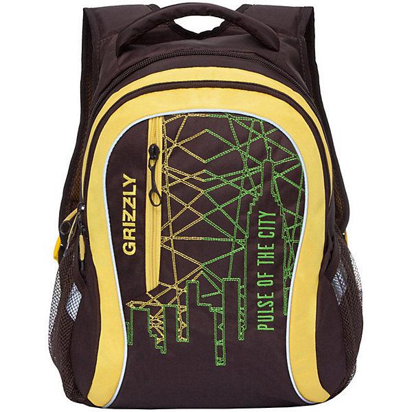 Рюкзак Grizzly, коричневый/лимонныйРюкзаки<br>Характеристики:<br><br>• возраст от: 10 лет;<br>• цвет: черный/желтый;<br>• материал: полиэстер, нейлон;<br>• размер рюкзака: 33х41х18 см.;<br>• объем рюкзака: средний (20 -30 л.);<br>• вес рюкзака: 1 кг.;<br>• тип рюкзака: повседневный, городской;<br>• ососбенности: карман для ноутбука;<br>• спинка: жесткая ортопедическая вставка;<br>• тип застёжки: молния;<br>• количество отделений: 2 отделения;<br>• количество карманов: 3 внешних/ 2 внутренних;<br>• дополнительная ручка-петля;<br>• износостойкая обивка;<br>• регулируемые укрепленные лямки;<br>• стильный дизайн;<br>• бренд, страна бренда: Grizzly, Россия.<br><br>Молодежный рюкзак Grizzly выполнен из сочетания высококачественного полиэстера с нейлоном и оформлен оригинальным фирменным принтом. Рюкзак имеет петлю для подвешивания и две удобные лямки, длина которых регулируется с помощью пряжек. Изделие имеет два основных отделения, которые дополнены внутренним карманом на молнии и карманом на резинке. Передняя стенка имеет втачной карман на застежке-молнии. Рюкзак оснащен двумя боковыми карманами из сетки. Спинка дополнена анатомической укрепленной вставкой.<br><br>Яркий рюкзак станет удобным и функциональным аксессуаром во время путешествий и повседневной носки на каждый день.<br><br>Рюкзак Grizzly, черный/желтый, можно купить в нашем интернет-магазине.<br>Ширина мм: 330; Глубина мм: 40; Высота мм: 410; Вес г: 678; Цвет: коричневый; Возраст от месяцев: 120; Возраст до месяцев: 2147483647; Пол: Мужской; Возраст: Детский; SKU: 8339156;