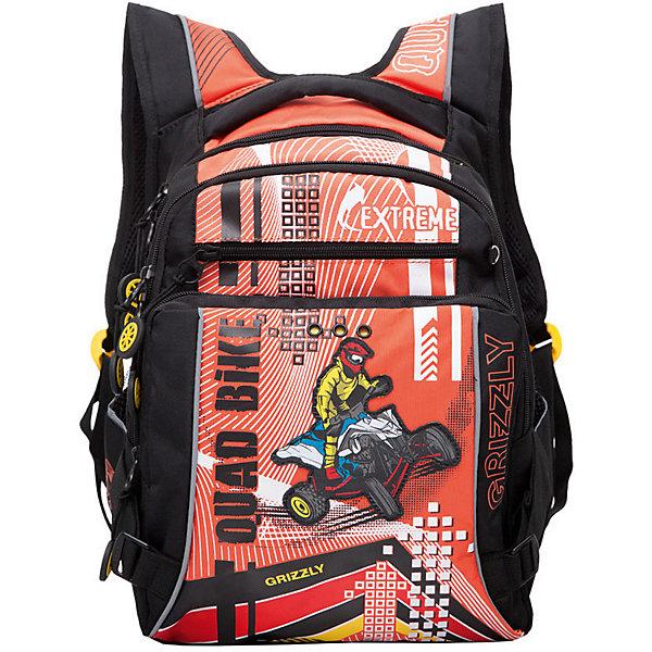 Рюкзак школьный Grizzly, чёрный/оранжевыйРюкзаки<br>Характеристики:<br><br>• возраст от: 6 лет;<br>• цвет: черный/оранжевый;<br>• материал: полиэстер;<br>• размер рюкзака: 27х43х26 см.;<br>• объем рюкзака: средний ( 20 л.);<br>• вес рюкзака: 970 гр.;<br>• тип рюкзака: школьный;<br>• ососбенности: отделение-органайзер, светоотражающие вставки;<br>• спинка: ортопедическая, воздухопроницаемая;<br>• тип застёжки: молния;<br>• количество отделений: 2 отделения;<br>• количество карманов: 4 внешних/3 внутренних;<br>• дополнительная ручка-петля;<br>• износостойкая обивка;<br>• регулируемые анатомические лямки;<br>• стильный дизайн;<br>• бренд, страна бренда: Grizzly, Россия.<br><br>Школьный ранец Grizzly для мальчика - это красивый и удобный ранец, который подойдет всем, кто хочет разнообразить свои школьные будни. Многофункциональный ранец станет незаменимым спутником вашего ребенка в походах за знаниями.  <br><br>Ранец выполнен из прочного материала и содержит два вместительных отделения, закрывающиеся на застежки-молнии с двумя бегунками. На лицевой стороне расположены два объемных кармана на молниях, в одном из которых находится органайзер для канцелярских принадлежностей. По бокам изделия имеются два открытых кармана. Дно рюкзака можно сделать жестким, разложив специальную панель, что повышает сохранность содержимого рюкзака и способствует правильному распределению нагрузки. Рюкзак оснащен мягкой ручкой для удобной переноски в руке и петлей для подвешивания рюкзака на крючок. Укрепленные регулируемые лямки рюкзака предохраняют мышцы спины ребенка от перенапряжения при длительном ношении. Анатомическая спинка дополнена эргономичными воздухопроницаемыми подушечками, которые обеспечивают удобство и комфорт при носке. Светоотражающие элементы не оставят незамеченным вашего ребенка в темное время суток.<br><br>Школьный ранец Grizzly для мальчика, черный/красный, можно купить в нашем интернет-магазине.<br>Ширина мм: 270; Глубина мм: 40; Высота мм: 430; Вес г: 965; Цвет: оран