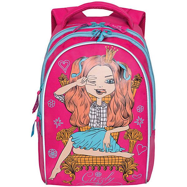 Рюкзак школьный Grizzly, розовыйРюкзаки<br>Характеристики:<br><br>• возраст от: 6 лет;<br>• цвет: розовый;<br>• материал: нейлон;<br>• размер рюкзака: 28х41х20 см.;<br>• объем рюкзака: маленький (до 20 л.);<br>• вес рюкзака:770 гр.;<br>• тип рюкзака: повседневный, школьный;<br>• ососбенности: пенал-органайзер, светоотражающие вставки;<br>• спинка: ортопедическая, воздухопроницаемая;<br>• тип застёжки: молния;<br>• количество отделений: 3 отделения;<br>• количество карманов: 1 внутренний;<br>• дополнительная ручка-петля;<br>• износостойкая обивка;<br>• регулируемые анатомические лямки;<br>• стильный дизайн;<br>• бренд, страна бренда: Grizzly, Россия.<br><br>Школьный рюкзак Grizzly для девочки выполнен из прочного материала и содержит три вместительных отделения, закрывающиеся на застежки-молнии с двумя бегунками. В отделении, расположенном на лицевой стороне, имеется органайзер для канцелярских принадлежностей. Рюкзак оснащен удобной текстильной ручкой для переноски в руке. Широкие регулируемые лямки рюкзака и воздухопроницаемая анатомическая спинка предохраняют мышцы спины ребенка от перенапряжения при длительном ношении. <br><br>Рюкзак Grizzly сочетает в себе современный дизайн, функциональность и долговечность. Этот рюкзак можно использовать для повседневных прогулок, учебы, отдыха и спорта, а также как элемент вашего имиджа.<br><br>Школьный рюкзак Grizzly для девочки, розовый, можно купить в нашем интернет-магазине.<br>Ширина мм: 280; Глубина мм: 40; Высота мм: 410; Вес г: 770; Цвет: розовый/розовый; Возраст от месяцев: 120; Возраст до месяцев: 2147483647; Пол: Женский; Возраст: Детский; SKU: 8339182;
