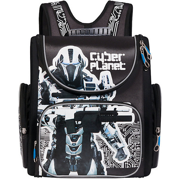 Рюкзак школьный Grizzly, чёрныйРюкзаки<br>Характеристики:<br><br>• возраст от: 6 лет;<br>• цвет: черный;<br>• материал: нейлон;<br>• размер рюкзака: 34х37х18 см.;<br>• объем рюкзака: маленький (до 20 л.);<br>• вес рюкзака:995 гр.;<br>• тип рюкзака: школьный;<br>• ососбенности: трансформер, светоотражающие вставки;<br>• спинка: ортопедическая, воздухопроницаемая;<br>• тип застёжки: молния;<br>• количество отделений: 1 отделения;<br>• количество карманов: 3 внешних/2 внутренних;<br>• дополнительная ручка-петля;<br>• износостойкая обивка;<br>• регулируемые анатомические лямки;<br>• стильный дизайн;<br>• бренд, страна бренда: Grizzly, Россия.<br><br>Школьный ранец Grizzly для мальчика станет незаменимым спутником вашего ребенка в походах за знаниями. <br><br>Ранец представлен в виде трансформера. Он может полностью раскладываться. Изделие содержит одно вместительное отделение, закрывающееся клапаном на застежку-молнию с двумя бегунками. Внутри отделения находятся две мягкие перегородки на резинке и открытый карман-сетка. Клапан ранца полностью откидывается, на его внутренней стороне расположен прозрачный пластиковый кармашек, в который можно поместить расписание занятий или сведения об ученике. На лицевой стороне изделия расположен накладной карман на молнии, в котором находится отделение-органайзер для канцелярских принадлежностей. По бокам находятся два кармана на молниях. <br><br>Полужесткий каркас и форма спинки способствуют равномерному распределению нагрузки и формированию правильной осанки. Мягкие анатомические лямки позволяют легко и быстро отрегулировать ранец в соответствии с ростом. Поясное крепление предназначено для правильной фиксации ранца. У ранца имеется прорезиненная ручка для переноски в руке. Прочное дно с пластиковыми ножками обеспечивает ранцу хорошую устойчивость. Светоотражающие элементы не оставят незамеченным вашего ребенка в темное время суток.<br><br>Школьный ранец-трансформер Grizzly для мальчика, черный, можно купить в нашем интернет-магази