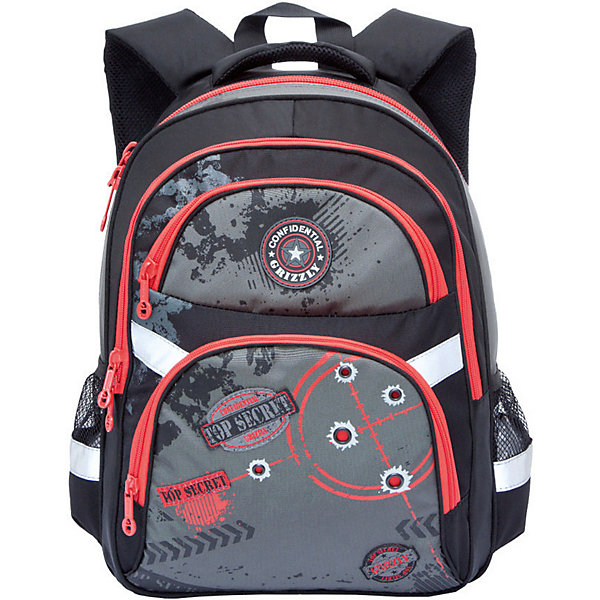 Купить Рюкзак школьный Grizzly, чёрный/красный, Китай, черный/розовый, Мужской