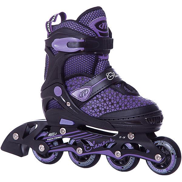Роликовые коньки Glamour (размер 35-38) фиолетовыеРолики<br>Характеристики товара:<br><br>• возраст: от 8 лет;<br>• ботинок: внутренний ботинок несъемный;<br>• внешний ботинок: ткань;<br>• подкладка: синтетика;<br>• стелька: синтетика;<br>• колеса: диаметр 64 мм.;<br>• колёса: из полиуретана;<br>• подшипники: ABEC 7 CHROME<br>• рама: материал алюминий;<br>• размер: 31-34 см.;<br>• застежка ботинок: шнурки, 2 бакли;<br>• размер упаковки: 46х37х12 см.;<br>• вес: 2,0 кг.;<br>• упаковка: картонная коробка.<br><br>Скоростное и яркое катание с роликами этой модели обеспечено вашим активным детям, ведь главными преимуществами этих роликовых коньков являются скоростные подшипники, колеса увеличенного диаметра и стильное цветовое решение. <br><br>Качество данной модели также демонстрирует прочная рама, а практичность - способность увеличиваться на несколько размеров, что очень удобно. <br><br>Роликовые коньки Glamour можно купить в нашем интернет-магазине.<br>Ширина мм: 370; Глубина мм: 120; Высота мм: 460; Вес г: 2000; Цвет: фиолетовый; Возраст от месяцев: 108; Возраст до месяцев: 96; Пол: Женский; Возраст: Детский; Размер: 31-34,35-38; SKU: 8340667;