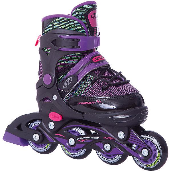 Роликовые коньки Jorney (размер 29-32) фиолетовыеРолики<br>Характеристики товара:<br><br>• ботинок: внутренний ботинок несъемный;<br>• внешний ботинок: ткань;<br>• застежка: шнурки и 2 бакли;<br>• подкладка: синтетика;<br>• стелька: синтетика;<br>• колеса: диаметр 64 мм.;<br>• подшипники: ABEC 7 CHROME;<br>• рама: материал алюминий;<br>• размер упаковки: 46х37х12 см.;<br>• вес: 2,0 кг.;<br>• упаковка: картонная коробка.<br><br>Скоростное и яркое катание с роликами этой модели обеспечено вашим активным детям, ведь главными преимуществами этих роликовых коньков являются скоростные подшипники, колеса увеличенного диаметра и стильное цветовое решение.<br><br>Качество данной модели также демонстрирует прочная рама, а практичность - способность увеличиваться на несколько размеров, что очень удобно.<br><br>Роликовые коньки Jorney можно купить в нашем интернет-магазине.<br>Ширина мм: 370; Глубина мм: 120; Высота мм: 460; Вес г: 2000; Цвет: фиолетовый; Возраст от месяцев: 108; Возраст до месяцев: 120; Пол: Женский; Возраст: Детский; Размер: 33-36,29-32; SKU: 8340671;