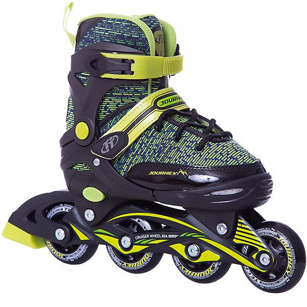 Роликовые коньки Jorney (размер 33-36) салатовыеРолики<br>Характеристики товара:<br><br>• возраст: от 9 лет;<br>• ботинок: внутренний ботинок несъемный;<br>• внешний ботинок: ткань;<br>• застежка: шнурки и 2 бакли;<br>• подкладка: синтетика;<br>• стелька: синтетика;<br>• колеса: диаметр 64 мм.;<br>• подшипники: ABEC 7 CHROME;<br>• рама: материал алюминий;<br>• размер упаковки: 46х37х12 см.;<br>• вес: 2,0 кг.;<br>• упаковка: картонная коробка.<br><br>Раздвижные роликовые коньки обеспечивают боковую поддержку ноги и улучшают управляемость. <br><br>Удобный ботинок из сочетания полимерных и синтетических материалов прекрасно вентилируется. <br><br>Рама роликовых коньков состоит из алюминия или усиленных полимеров. <br><br>Колеса изготовлены из полиуретана или поливинилхлорида. <br><br>Надежные подшипники соответствуют принятому стандарту ABEC. <br><br>Раздвижная модель роликовых коньков имеет специальное кнопочное устройство, позволяющее раздвигать ботинок 4 полных размера.<br><br>Роликовые коньки Jorney можно купить в нашем интернет-магазине.<br>Ширина мм: 370; Глубина мм: 120; Высота мм: 460; Вес г: 2000; Цвет: зеленый; Возраст от месяцев: 120; Возраст до месяцев: 108; Пол: Мужской; Возраст: Детский; Размер: 33-36,29-32; SKU: 8340672;