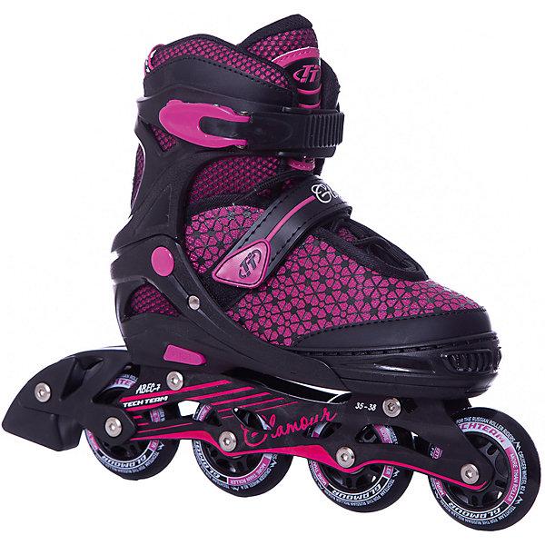 Роликовые коньки Glamour (размер 35-38) розовыеРолики<br>Характеристики товара:<br><br>• возраст: от 8 лет;<br>• ботинок: внутренний ботинок несъемный;<br>• внешний ботинок: ткань;<br>• подкладка: синтетика;<br>• стелька: синтетика;<br>• колеса: диаметр 64 мм.;<br>• колёса: из полиуретана;<br>• подшипники: ABEC 7 CHROME<br>• рама: материал алюминий;<br>• размер: 31-34 см.;<br>• застежка ботинок: шнурки, 2 бакли;<br>• размер упаковки: 46х37х12 см.;<br>• вес: 2,0 кг.;<br>• упаковка: картонная коробка.<br><br>Скоростное и яркое катание с роликами этой модели обеспечено вашим активным детям, ведь главными преимуществами этих роликовых коньков являются скоростные подшипники, колеса увеличенного диаметра и стильное цветовое решение. <br><br>Качество данной модели также демонстрирует прочная рама, а практичность - способность увеличиваться на несколько размеров, что очень удобно. <br><br>Роликовые коньки Glamour можно купить в нашем интернет-магазине.<br>Ширина мм: 370; Глубина мм: 120; Высота мм: 460; Вес г: 2000; Цвет: розовый; Возраст от месяцев: 108; Возраст до месяцев: 96; Пол: Женский; Возраст: Детский; Размер: 31-34,35-38; SKU: 8340676;