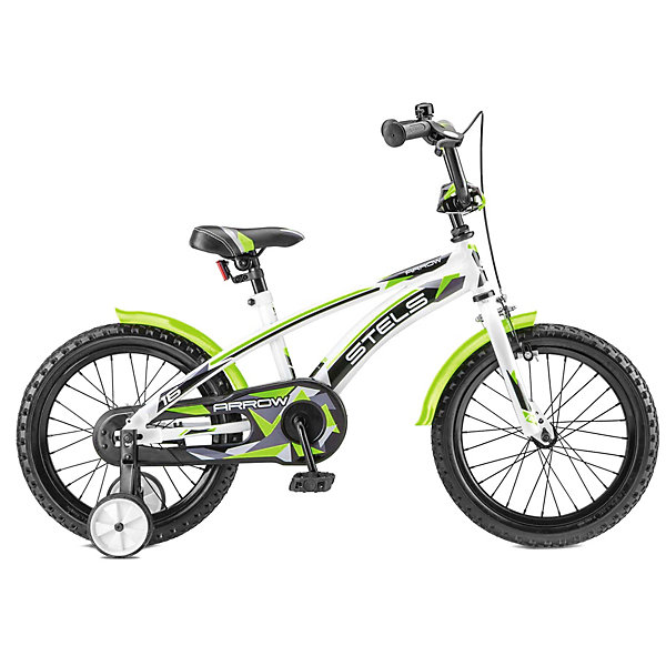 Stels Двухколесный велосипед Stels Arrow 16 дюймов V020 9.5 дюймов, белый/зеленый