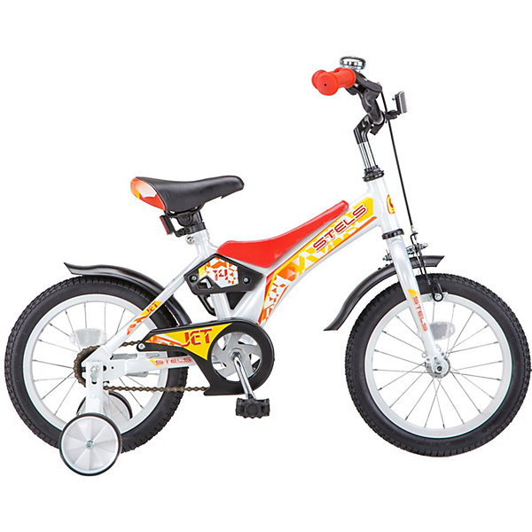 Двухколёсный велосипед Stels Jet 14 Z010 8.5, белый/красныйВелосипеды<br>Характеристики товара:<br><br>• возраст: от 3 лет;<br>• материал рамы: сталь;<br>• диаметр колёс: 14 дюймов;<br>• вес: 9,8 кг.;<br>• размер упаковки: 82х17,5х40 см.<br><br>Односкоростной детский велосипед Stels Jet 14 рекомендуется использовать детям с ростом от 85 до 100 см. <br><br>Количество скоростей: 1. <br>Короткие стальные крылья. <br>Передний тормоз ручной, задний тормоз ножной. <br>Поддерживающие боковые колеса. <br>Стальная рама. <br>Высокий руль с накладками.
