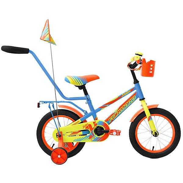 Forward Двухколёсный велосипед Forward Meteor 14, голубой/зеленый