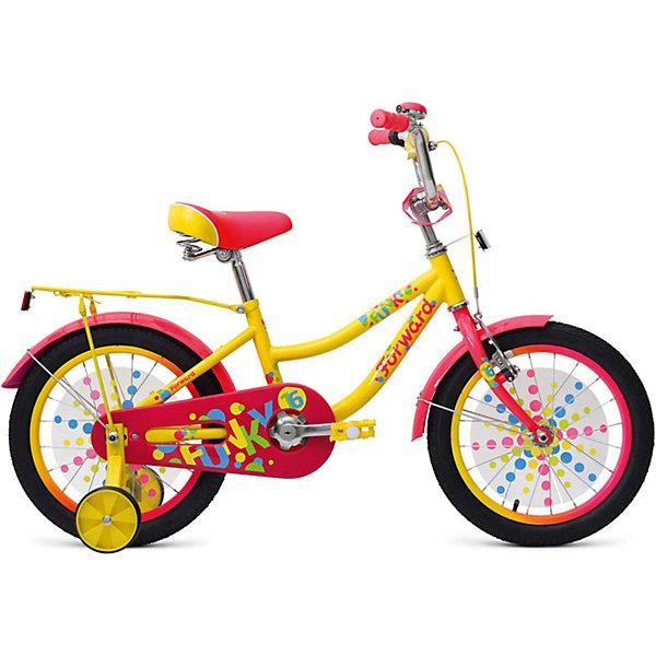 Двухколёсный велосипед Forward Funky 16, жёлтыйВелосипеды и аксессуары<br>Характеристики товара:<br><br>• возраст: от 4 лет;<br>• материал рамы: сталь;<br>• тормоз: ножной педальный;<br>• диаметр колёс: 16 см.;<br>• задний: тормоз ножной;<br>• вес: 13,5 кг.;<br>• размер упаковки: 99х20х54 см.<br><br>Велосипед FORWARD Funky 16  это детская модель 2018 года выпуска, выпускается в трех расцветках, поэтому можно подобрать и мальчику и девочке ростом от 100 см. <br><br>Прочная стальная рама, жесткая вилка, удобное сидение с пружинами, регулируемый руль по высоте и углу наклона. <br><br>У велосипеда установлены две тормозные системы, задний ножной педальный, передний ручной U-brake.  По бокам установлены дополнительные колесики, они помогут при обучении катанию, их легко можно демонтировать при необходимости. <br><br>Детский велосипед Forward Funky 16 (2018) можно купить в нашем интернет-магазине.<br>Ширина мм: 990; Глубина мм: 200; Высота мм: 540; Вес г: 13500; Цвет: желтый; Возраст от месяцев: 48; Возраст до месяцев: 72; Пол: Унисекс; Возраст: Детский; SKU: 8341701;