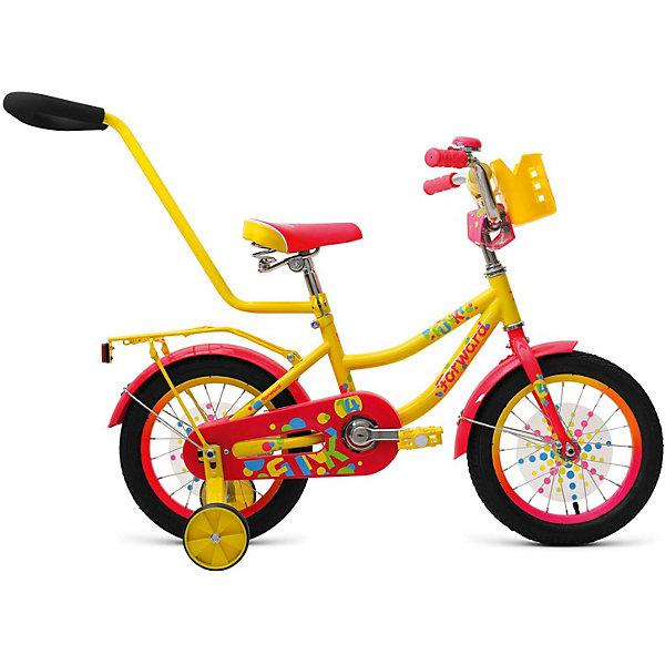 Двухколёсный велосипед Forward Funky 14, жёлтыйВелосипеды и аксессуары<br>Характеристики товара:<br><br>• возраст: от 3 лет;<br>• материал рамы: сталь;<br>• тормоз: ножной педальный;<br>• диаметр колёс: 14 см.;<br>• задний: тормоз ножной;<br>• вес: 12,9 кг.;<br>• размер упаковки: 91х20х49 см.<br><br>Велосипед двухколесный Forward Funky 14 оснащен очень прочной стальной рамой, а также дополнительными боковыми колесами, которые помогают удерживать равновесие при обучении катанию.<br><br>Сиденье и руль регулируются по высоте и надежно фиксируются, благодаря чему велосипед достаточно долго будет соответствовать росту ребенка. <br><br>На руле имеются мягкие накладки. Ноги и одежда защищены от контакта с цепью специальной накладкой. Родительская ручка поможет контролировать движения малыша и помогать ему в управлении. <br><br>Детский велосипед Forward Funky 14 (2018) можно купить в нашем интернет-магазине.<br>Ширина мм: 910; Глубина мм: 200; Высота мм: 490; Вес г: 12900; Цвет: желтый; Возраст от месяцев: 36; Возраст до месяцев: 60; Пол: Унисекс; Возраст: Детский; SKU: 8341721;
