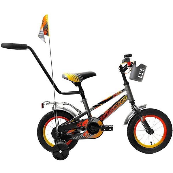 Двухколёсный велосипед Forward Meteor 12, серыйВелосипеды и аксессуары<br>Характеристики товара:<br><br>• возраст: от 2 лет;<br>• материал рамы: сталь;<br>• тормоз: ножной педальный;<br>• диаметр колёс: 12 см.;<br>• задний: тормоз ножной;<br>• вес: 10,2 кг.;<br>• размер упаковки: 85х20х43 см.<br><br>Велосипед двухколесный Forward Meteor 12 оснащен очень прочной стальной рамой, а также дополнительными боковыми колесами, которые помогают удерживать равновесие при обучении катанию. <br><br>Сиденье и руль регулируются по высоте и надежно фиксируются, благодаря чему велосипед достаточно долго будет соответствовать росту ребенка. <br><br>На руле имеются мягкие накладки. Ноги и одежда защищены от контакта с цепью специальной накладкой. Родительская ручка поможет контролировать движения малыша и помогать ему в управлении. <br><br>Детский велосипед Forward Meteor 12 (2018) можно купить в нашем интернет-магазине.<br>Ширина мм: 850; Глубина мм: 200; Высота мм: 430; Вес г: 10200; Цвет: серый; Возраст от месяцев: 24; Возраст до месяцев: 48; Пол: Унисекс; Возраст: Детский; SKU: 8341757;