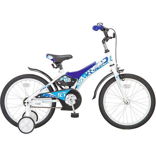 Двухколёсный велосипед Stels Jet 18 Z010 10, белый/синийВелосипеды<br>Характеристики товара:<br><br>• возраст: от 6 лет;<br>• материал рамы: сталь;<br>• диаметр колёс: 18 дюймов;<br>• количество скоростей: 1;<br>• короткие стальные крылья;<br>• передний тормоз ручной, задний тормоз ножной;<br>• высокий руль с накладками;<br>• поддерживающие боковые колеса;<br>• стальная рама;<br>• вес: 11,37 кг.;<br>• размер упаковки: 97х19х48 см.<br><br>Универсальный односкоростной велосипед для начинающих велосипедистов. <br>Специально для комфортного обучения катанию на двухколесном велосипеде предназначены маленькие боковые колесики. Рекомендуется использовать детям с ростом от 85 до 100 см.
