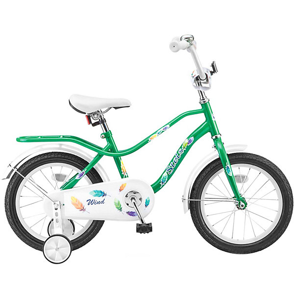 Stels Двухколесный велосипед Wind 14 дюймов Z010 9.5 дюймов, зеленый