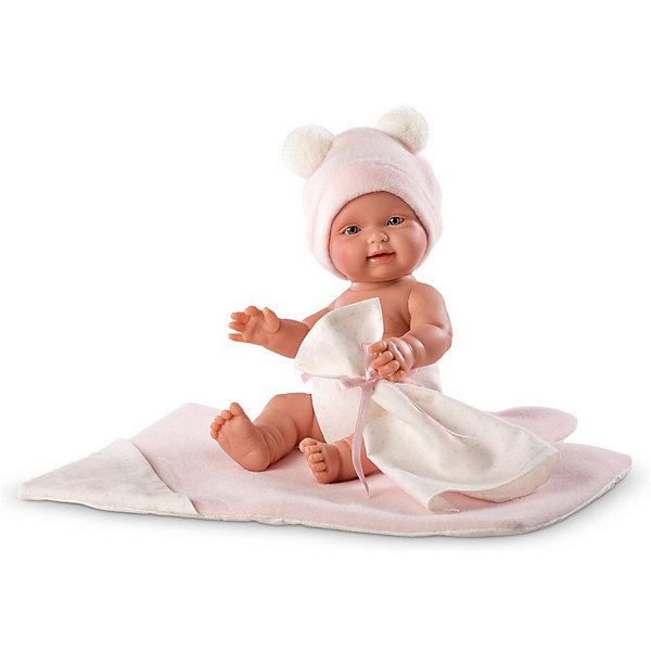 Кукла-пупс Llorens Бэбита Роза с одеялом, 26 смКуклы<br>Характеристики:<br><br>• возраст: от 3 лет;<br>• материал: винил, текстиль;<br>• в наборе: кукла, одеяло, пустышка, подгузник, шапочка;<br>• высота куклы: 26 см;<br>• вес упаковки: 1 кг.;<br>• размер упаковки: 37х10х15 см;<br>• страна бренда: Испания.<br><br>Кукла Llorens «Бэбито Селесте» очень похожа на настоящего новорожденного. У куклы есть характерные для младенцев складочки и морщинки, на лице красуются выразительные глазки, пухлые щечки, ротик приоткрыт.<br><br>Ножки, ручки и голова игрушки подвижны, поэтому ей удобно менять подгузник, пеленать и кормить. Аксессуары для куклы помогут разыграть разные сценки из игры «дочки-матери». Кукла выполнена из высококачественных безопасных материалов.<br><br>Куклу Llorens «Бэбито Селесте» с одеялом, 26 см можно купить в нашем интернет-магазине.<br>Ширина мм: 37; Глубина мм: 10; Высота мм: 15; Вес г: 1000; Цвет: розовый; Возраст от месяцев: 36; Возраст до месяцев: 84; Пол: Женский; Возраст: Детский; SKU: 8346010;