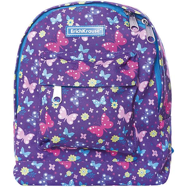 Рюкзак ErichKrause «EasyLine Mini», Butterfly, 6 литровРюкзаки<br>Характеристики:<br><br>• возраст: от 6 лет;<br>• материал: 100% полиэстер;<br>• размер рюкзака: 25х11х27 см;<br>• вес рюкзака: 132 гр;<br>• объем в литрах: 6;<br>• тип рюкзака: детский;<br>• особенности: без наполнения;<br>• спинка: мягкая;<br>• тип застёжки: молния;<br>• количество отделений: 1;<br>• количество карманов: один большой фронтальный на молнии;<br>• размер упаковки: 25х11х27 см;<br>• страна бренда: Германия.<br><br>Модель EasyLine (ИзиЛайн) изготовлена из износостойкого и морозостойкого водоотталкивающего полиэстера. Лямки мягкие и комфортные, благодаря внутреннему уплотнителю. Места крепления лямок и ручки усилены дополнительными швами.<br><br>Объем рюкзака 6 литров. Внутри одно вместительное отделение, снаружи большой фронтальный карман на молнии. Надежные молнии с мягким ходом оснащены бегунками с логотипом ErichKrause.<br><br>Рюкзак ErichKrause «EasyLine Mini» Butterfly (ЭрикКраузе «ИзиЛайн Мини» Баттерфлай), 6 литров можно купить в нашем интернет-магазине.<br>Ширина мм: 250; Глубина мм: 110; Высота мм: 270; Вес г: 132; Цвет: фиолетовый; Возраст от месяцев: 72; Возраст до месяцев: 2147483647; Пол: Женский; Возраст: Детский; SKU: 8348484;