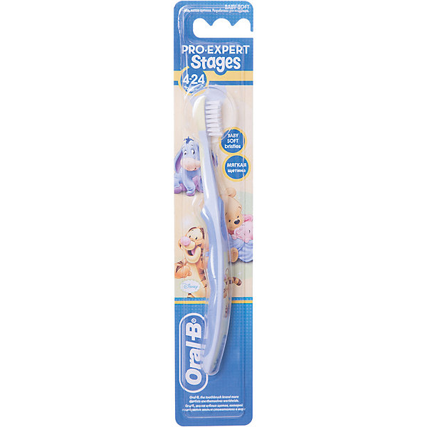 Детская зубная щетка Oral-B Stages  4-24 мес, голубо-синяяЗубные щетки<br>Характеристики:<br><br>• зубная щетка разработана для детей от 4 до 24 месяцев;<br>• бережный уход за прорезавшимися зубами;<br>• очищение полости рта;<br>• массирование десен;<br>• ручка щетки для захвата взрослой рукой;<br>• оформление в стиле Дисней.<br><br>Детская зубная щетка Oral-B разработана для детей раннего возраста на этапе прорезывания у них первых зубиков. С первым появившимся зубиком пора начинать чистить зубы. Зубная щетка Stages 4-24 месяца бережно очищает и массирует зубки и десны маленького ребенка. <br><br>Детская зубная щетка Oral-B Stages 4-24 месяца можно купить в нашем интернет-магазине.<br>Ширина мм: 42; Глубина мм: 20; Высота мм: 228; Вес г: 19; Возраст от месяцев: 4; Возраст до месяцев: 24; Пол: Унисекс; Возраст: Детский; SKU: 8356936;