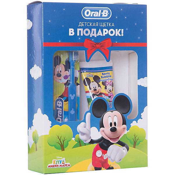 Купить Детская зубная щетка Oral-B Mickey For Kids 20, синяя + Зубная паста Stages Ягодный взрыв, 75 мл, Унисекс