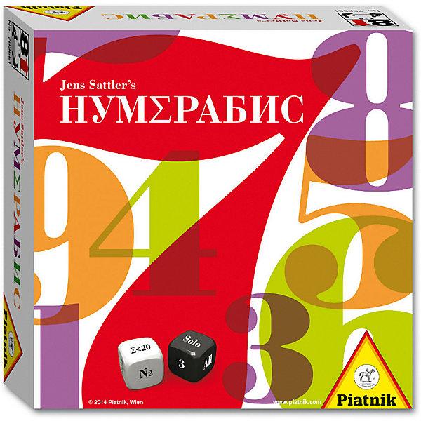 Игра Piatnik «Нумерабис»Настольные игры для всей семьи<br>Характеристики товара:<br><br>• возраст: от 8 лет;<br>• материал: картон, пластик;<br>• количество игроков: 2-5 человек;<br>• в комплекте: 49 карточек, 2 кубика, наклейки, правила игры;<br>• размер упаковки: 16,5х16,5х5,5 см;<br>• вес упаковки: 420 гр.<br><br>Настольная игра Piatnik «Нумерабис» - увлекательная игра на тренировку математических операций. Все карточки раскладываются на поле картинкой вниз. Игрок берет 2 карточки, бросает кубик и должен выполнить математические действия, которые выпадут на кубике.<br><br>Настольную игру Piatnik «Нумерабис» можно приобрести в нашем интернет-магазине.<br>Ширина мм: 165; Глубина мм: 55; Высота мм: 165; Вес г: 420; Цвет: разноцветный; Возраст от месяцев: 96; Возраст до месяцев: 2147483647; Пол: Унисекс; Возраст: Детский; SKU: 8357155;