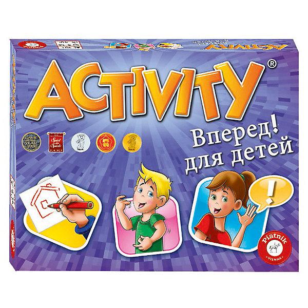 Настольная игра Activity Вперед, детская версия, PiatnikНастольные игры для всей семьи<br>Характеристики товара:<br><br>• возраст: от 8 лет;<br>• материал: картон, пластик;<br>• количество игроков: 4-12 человек;<br>• в комплекте: 36 карточек, кубик, правила игры;<br>• размер упаковки: 13,2х10х2,4 см;<br>• вес упаковки: 110 гр.<br><br>Настольная игра Activity «Вперед» Piatnik — детская версия популярной игры. Ведущему предстоит объяснять слова из разных категорий другим игрокам. Делать это можно одним из трех способов: пантомимой, не однокоренными словами или рисунками без написания букв. Остальные игроки должны за 1 минуту угадать слово.<br><br>Настольную игру Activity «Вперед» Piatnik можно приобрести в нашем интернет-магазине.<br>Ширина мм: 100; Глубина мм: 24; Высота мм: 132; Вес г: 110; Цвет: разноцветный; Возраст от месяцев: 120; Возраст до месяцев: 2147483647; Пол: Унисекс; Возраст: Детский; SKU: 8357161;