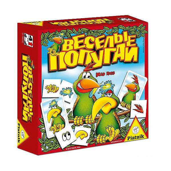 Настольная игра Piatnik «Веселые попугаи»Настольные игры для всей семьи<br>Характеристики товара:<br><br>• возраст: от 4 лет;<br>• материал: картон;<br>• количество игроков: 2-5 человек;<br>• в комплекте: 16 карточек мемо, 16 карточек с попугаями;<br>• размер упаковки: 16,5х16,5х5,5 см;<br>• вес упаковки: 240 гр.<br><br>Настольная игра Piatnik «Веселые попугаи» - увлекательная игра на тренировку памяти и внимательности. Из карточек с попугаями формируется колода, а карточки с изображением их частей тела выкладываются в центр игрового поля картинкой вниз.<br><br>По очереди игроки начинают брать из центра карточки. Кто первый откроет четыре карточки с деталями, соответствующими изображению одного из попугаев, забирает их себе. Победит тот, кто соберет больше всего карточек.<br><br>Настольную игру Piatnik «Веселые попугаи» можно приобрести в нашем интернет-магазине.<br>Ширина мм: 165; Глубина мм: 55; Высота мм: 165; Вес г: 240; Цвет: разноцветный; Возраст от месяцев: 48; Возраст до месяцев: 2147483647; Пол: Унисекс; Возраст: Детский; SKU: 8357183;