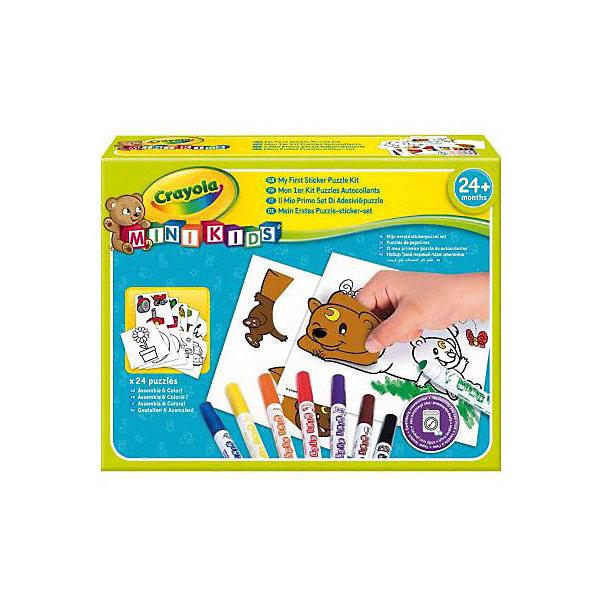 Набор для творчества Crayola Мой первый пазл с наклейкамиНаборы для раскрашивания<br>Характеристики товара:<br><br>• возраст: от 2 лет;<br>• материал: бумага, картон, пластик;<br>• комплект: 8 фломастеров, 24 листа с наклейками, 24 листа с раскрасками;<br>• размеры упаковки: 24х18х5 см;<br>• вес упаковки: 340 гр.;<br>• страна бренда: США.<br><br>Раскраска Мой первый пазл – это отличный набор, в котором есть 24 листа с наклейками, 24 шаблона с раскрасками, а также 8 фломастеров. Ребенку наверняка понравится собирать картинки из частей, наклеивать их, а затем дополнять изображение рисунком. Такое занятие прекрасно развивает творческие способности у детей.<br><br>Набор для творчества Crayola Мой первый пазл с наклейками можно купить в нашем интернет-магазине.<br>Ширина мм: 240; Глубина мм: 180; Высота мм: 50; Вес г: 340; Возраст от месяцев: 24; Возраст до месяцев: 2147483647; Пол: Унисекс; Возраст: Детский; SKU: 8361711;