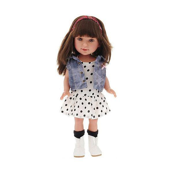 Классическая кукла Vestida de Azul Паулина, Весна КантриКлассические куклы<br>Характеристики:<br><br>• возраст: от 3 лет;<br>• материал: винил, текстиль;<br>• высота куклы: 33 см;<br>• вес: 655 гр;<br>• размер: 40х18х9 см;<br>• страна бренда: Испания;<br>• бренд: Vestida de Azul.<br> <br>Классическая кукла Vestida de Azul Паулина, Весна Кантри в стильном наряде: белое платье в горох с пышной юбкой, джинсовая жилетка, черные гольфа и светлые сапоги. <br><br>У куклы очень приятное и милое личико: щечки с легким румянцем, слегка вздернутый носик, пухлые губки и выразительные глаза с длинными ресницами, наклеенными вручную, которые выглядят как настоящие.<br><br>Длинные волосы куклы густо прошиты и напоминают натуральные. Челка прошита отдельно, а значит всегда будет красиво уложенной. <br><br>Кукла изготовлена из плотного гипоаллергенного винила высокого качества, и самостоятельно стоит. Подвижные руки, ноги и голова для незабываемой реалистичной игры.<br><br>Классическую куклу Vestida de Azul Паулина, Весна Бохо Шик можно  купить в нашем интернет-магазине.<br>Ширина мм: 360; Глубина мм: 150; Высота мм: 80; Вес г: 750; Цвет: разноцветный; Возраст от месяцев: 36; Возраст до месяцев: 2147483647; Пол: Женский; Возраст: Детский; SKU: 8361742;