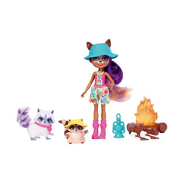 Mattel Набор с мини-куклой Enchantimals Кемпинг Енот Рейлин, 15 см enchantimals игровой набор с куклой sage scunk