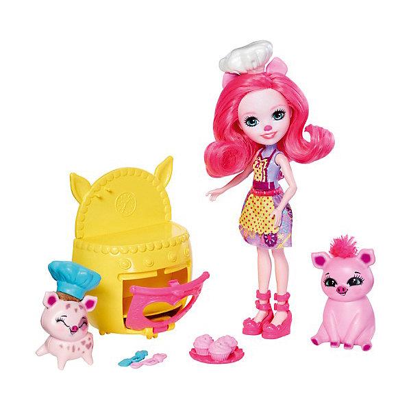 Набор с мини-куклой Enchantimals Весёлая пекарня Петти Пиг, 15 смНаборы с куклой<br>Характеристики товара:<br><br>• возраст: от 6 лет;<br>• материал: пластик;<br>• в комплекте: кукла, 2 фигурки поросят, печь, капкейки, аксессуары;<br>• высота куклы: 15 см;<br>• размер упаковки: 25,4х22х6,6 см;<br>• вес упаковки: 195 гр.<br><br>Игровой набор с куклой Enchantimals «Веселая пекарня» включает в себя очаровательную куколку, фигурки поросят и предметы, с помощью которых куколка будет печь вкусные угощения. <br><br>Кукла Enchantimals внешне очень похожа на своих питомцев, у нее забавные ушки и носик. У куклы мягкие волосы, которые можно расчесывать украшать и заплетать. Ручки и ножки куклы подвижны. Все элементы выполнены из качественного безопасного пластика.<br><br>Игровой набор с куклой Enchantimals «Веселая пекарня» можно приобрести в нашем интернет-магазине.<br>Ширина мм: 254; Глубина мм: 220; Высота мм: 66; Вес г: 195; Возраст от месяцев: 72; Возраст до месяцев: 120; Пол: Женский; Возраст: Детский; SKU: 8371507;