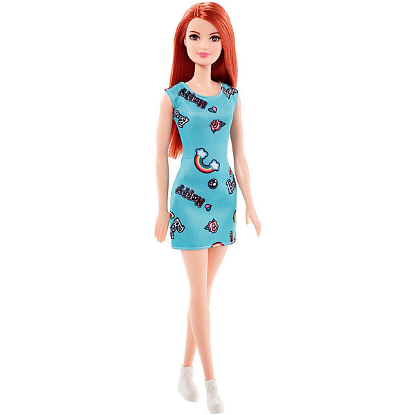 Mattel Кукла Barbie Стиль рыжая в голубом платье, 28 см