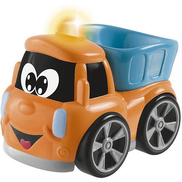 Машинка для малышей Chicco TruckyМашинки для малышей<br>Характеристики товара:<br><br>• возраст: от 2 лет;<br>• материал: пластик;<br>• тип батареек: 3 батарейки LR44;<br>• наличие батареек: в комплекте;<br>• размер упаковки: 14х10,5х10 см;<br>• вес упаковки: 263 гр.;<br>• страна бренда: Италия.<br><br>Машинка Chicco Trucky — развивающая машинка, выполненная в виде очаровательного грузовичка. У него есть поднимающийся кузов, при помощи которого можно загружать и разгружать круглый шарик. Когда малыш катает машинку, звучат забавные веселые мелодии и горит сигнальная сирена на крыше машинки. Игрушка выполнена из безопасного пластика.<br><br>Машинку Chicco Trucky можно приобрести в нашем интернет-магазине.<br>Ширина мм: 105; Глубина мм: 100; Высота мм: 140; Вес г: 263; Цвет: оранжевый; Возраст от месяцев: 24; Возраст до месяцев: 72; Пол: Унисекс; Возраст: Детский; SKU: 8376575;