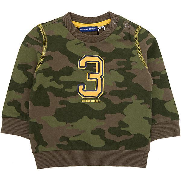 Толстовка Original Marines для мальчикаТолстовки<br>Характеристики товара:<br><br>• цвет: серый;<br>• состав ткани: 100% хлопок;<br>• сезон: демисезон;<br>• застежка: кнопки;<br>• длинные рукава;<br>• страна бренда: Италия.<br><br>Мягкая детская толстовка с застежками-кнопками на плече выполнена в стильной расцветке милитари. Толстовка для ребенка дополнена эластичными манжетами на рукавах и резинкой по низу - это обеспечивает комфортную посадку и помогает вещи не сползать. Толстовка для детей украшена прорезиненным принтом. Итальянский бренд Original Marines - это модная детская одежда европейского качества. <br><br>Толстовку Original Marines (Ориджинал Маринс) для мальчика можно купить в нашем интернет-магазине.<br>Ширина мм: 190; Глубина мм: 74; Высота мм: 229; Вес г: 236; Цвет: серый; Возраст от месяцев: 0; Возраст до месяцев: 3; Пол: Мужской; Возраст: Детский; Размер: 56/62,86,80,68/74,62/68; SKU: 8381945;